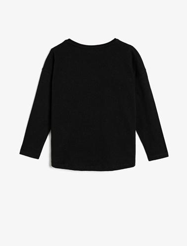 Koton Kids Pul Detaylı T-Shirt Siyah